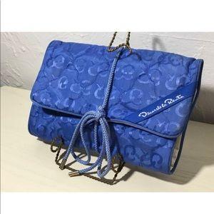 Vtg OSCAR De La RENTA Blue Roll Up Travel Bag